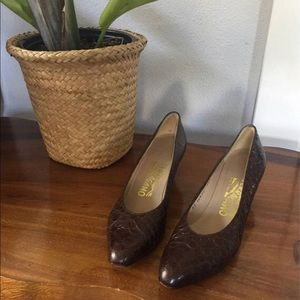 Ferragamo 6.5 AAAA Brown Leather Pumps Heels